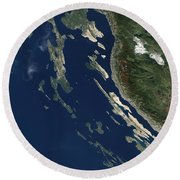 Satellite View Of The Croatian Islands Round Beach Towel