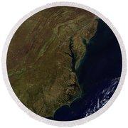 Satellite View Of The Mid-atlantic Round Beach Towel