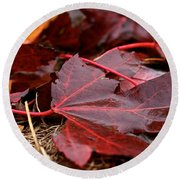 Saturated Maroon Round Beach Towel