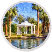 Saturday In The Park Round Beach Towel