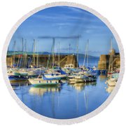 Saundersfoot Boats Painted Round Beach Towel
