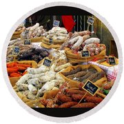 Sausages For Sale Round Beach Towel