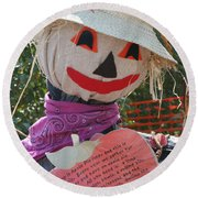 Scarecrow Andy Round Beach Towel