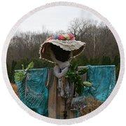 Scarecrow Garden Art Round Beach Towel