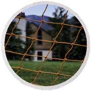 Scene Through A Volley Ball Court 2 Round Beach Towel
