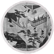 Scenes From The Tale Of Genji Round Beach Towel