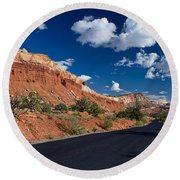 Scenic Drive Through Capitol Reef National Park Round Beach Towel