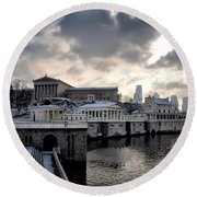 Scenic Philadelphia Winter Round Beach Towel