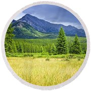 Scenic View In Canadian Rockies Round Beach Towel by Elena Elisseeva