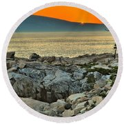 Schoodic Sunset Round Beach Towel