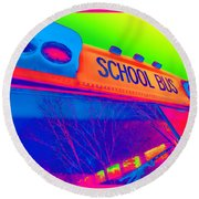 School Bus Round Beach Towel
