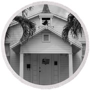 School House In Black And White Round Beach Towel