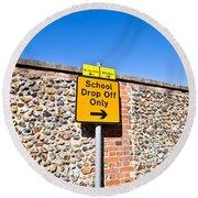 School Parking Sign Round Beach Towel