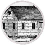 Schoolhouse, 18th Century Round Beach Towel