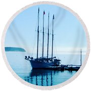 Schooner At Dock Bar Harbor Me Round Beach Towel