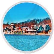 Schuylkill Navy Boat House Row Round Beach Towel
