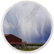 Scifi Storm And Red Barn Round Beach Towel