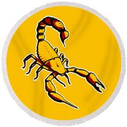 Scorpion Graphic  Round Beach Towel by Pixel Chimp