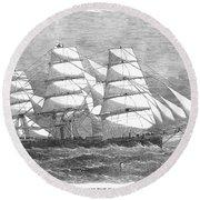 Screw Steamship, 1864 Round Beach Towel