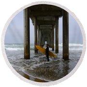 Scripps Pier Surfer 2 Round Beach Towel