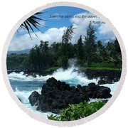 Scripture And Picture Matthew 8 27 Round Beach Towel