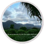 Scripture And Picture Psalm 121 1 Round Beach Towel
