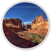 Scripture And Picture Romans 8 37  Round Beach Towel