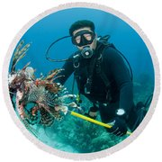 Scuba Diver With Spear Of Invasive Round Beach Towel