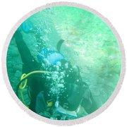 Scuba Diving Round Beach Towel