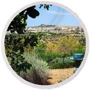 Sculpture Garden In Sicily 2 Round Beach Towel