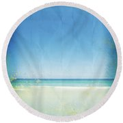 Sea And Sky On Old Paper Round Beach Towel
