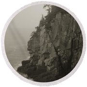 Sea Cliff At Quoddy Head  Round Beach Towel