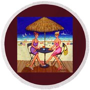 Sea For Two - Girlfriends At Beach Round Beach Towel