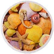 Sea Horse Starfish And Seashells  Round Beach Towel
