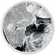 Sea Ice Lines The Coasts Of Sweden Round Beach Towel