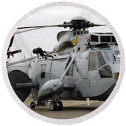 Sea King Helicopter Of The Royal Navy Round Beach Towel by Luc De Jaeger