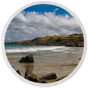 Sea Landscape With Bay Beach Round Beach Towel