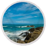 Sea Landscape With Beach Coast Rocks And Blue Sky Round Beach Towel