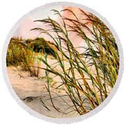 Sea Oats And Dunes Round Beach Towel by Kristin Elmquist