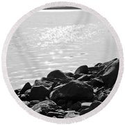 Sea Of Galilee In Black And White Round Beach Towel
