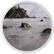 Sea Rocks And Surf Round Beach Towel