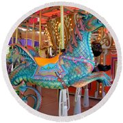 Sea Serpent Carousel Ride Round Beach Towel