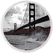 Sea Spray Under The Golden Gate Bridge Round Beach Towel