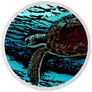 Sea Turtle Swimming Round Beach Towel