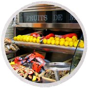 Seafood Market In Nice Round Beach Towel