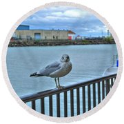 Seagull At Lighthouse Round Beach Towel