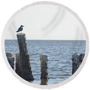 Seagull On A Post Round Beach Towel