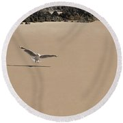 Seagull Spreads Its Wings On The Beach  Round Beach Towel