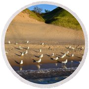 Seagulls At The Bowl Round Beach Towel
