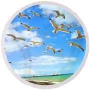 Seagulls At Worthing Sussex Round Beach Towel
